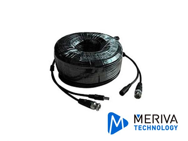 CABLE DE VIDEO HD ARMADO MERIVA MVA-HDCB18 18MTS NEGRO CON CONECTORES DE VIDEO BNC Y CORRIENTE OPTIMIZADO PARA AHD/HDTVI/HDCVI
