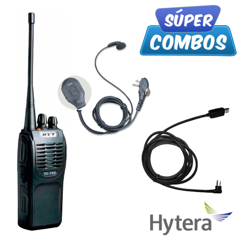 SUPER COMBO HYTERA 1 TC700-UHF + 1 ESM12 + 1 PC26 DE REGALO