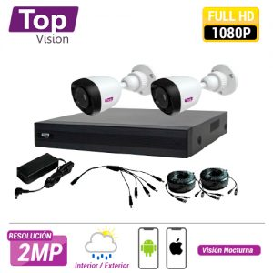 KIT 4X2 TOP402 INCLUYE 1 DVR 4CH XDVR-1004 1080P-LITE + 2 CAMARAS BULLET 1080P 2MP TCB200 + 2 CABLES 18MTS C/U + FUENTE DE PODER Y DISTRIBUIDORES DE VIDEO.